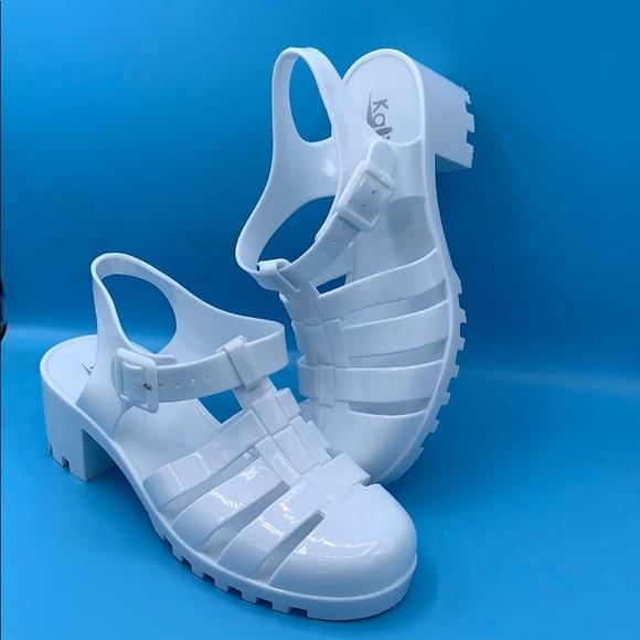 bcec790827 Kali Shoes | White Jelly Block Heel Sandal | Poshmark